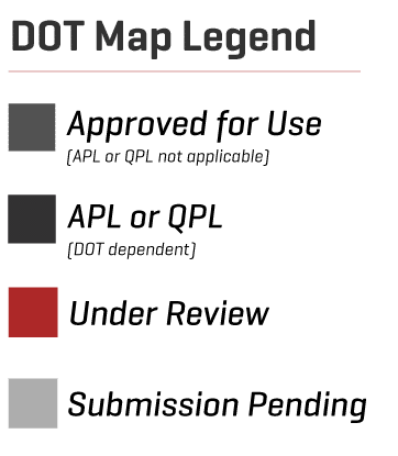 Regional Sales Contact State DOT Status Map EdenCrete - Us dot map